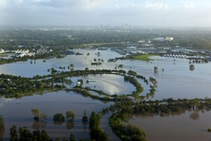 Aerial photograph of brisbane flood at sherwood