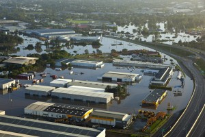 Aerial photograph of brisbane flood at Rocklea