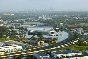 Aerial photograph of brisbane flood at ipswich road Rocklea